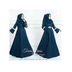 Baju Original Tiara Dress Gamis Wolfice Gaun Pesta Panjang Baju Hijab Terusan Pengajian Wanita Muslimah Warna Navy