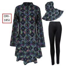 Baju Renang Muslim Jumbo Motif Loreng Hitam -185J