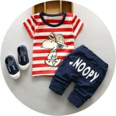 Baju Setelan Anak Cowok  Baju Snoopy Garis Merah  Baju Import Murah