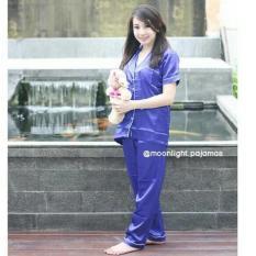 Baju Tidur Baju Santai Wanita Silk Satin cp biru