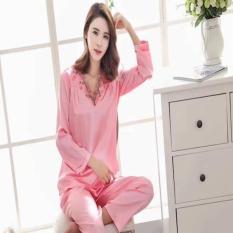 Baju Tidur Lengan Celana Panjang Muslimah 1702 Piyama Satin Murah Cewe
