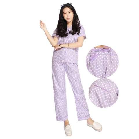 Baju Tidur / Piyama Motif Polkadot Ungu celana panjang (M)