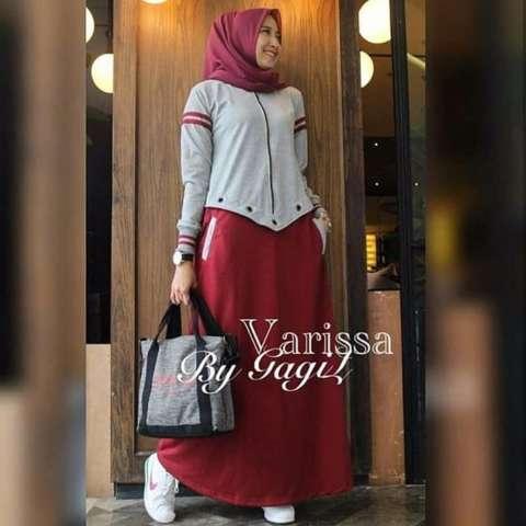 Tjk Fashion Shop Varisa Dress  Baju Gamis  Gamis Casual