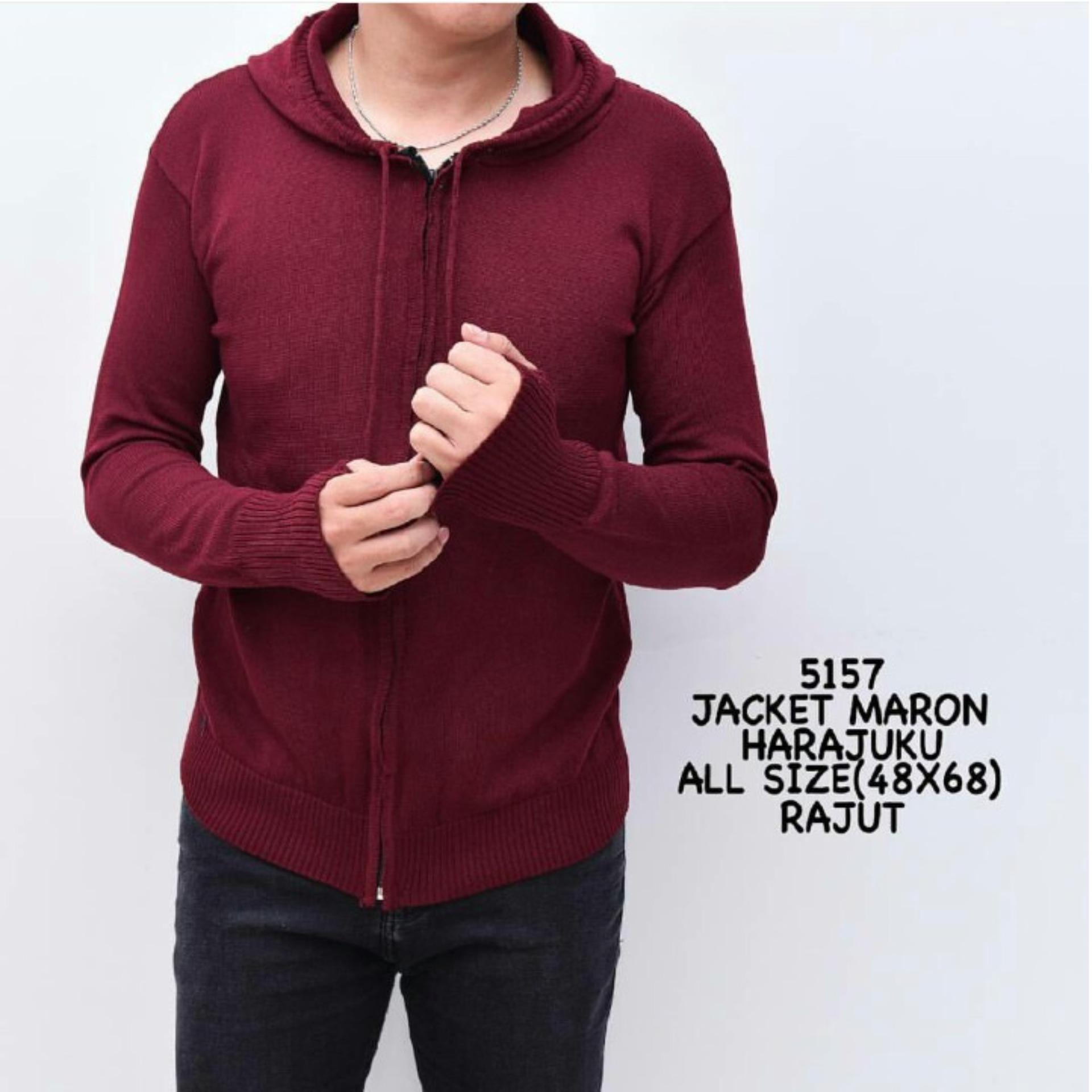 bajuku murah 5157 maroon harajuku sweater pria kaos pria tangan panjang  pake kupluk pake hoodie fashion a7a7242ec3