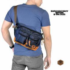 bajuku murah sling bag navy brown b-mu 5835 tas selempang pria tas jinjing pria koper fashion pria trendy gaul tas distro tas samping pria dompet pria batik kemeja superhero kaos kerah bulat oblong