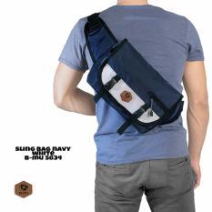 bajuku murah sling bag navy white b-mu 5834 tas selempang pria tas jinjing pria koper fashion pria trendy gaul tas distro tas samping pria dompet pria batik kemeja superhero kaos kerah bulat oblong