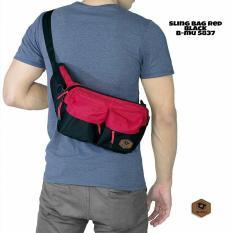 bajuku murah sling bag red black b-mu 5837 tas selempang pria tas jinjing pria koper fashion pria trendy gaul tas distro tas samping pria dompet pria batik kemeja superhero kaos kerah bulat oblong