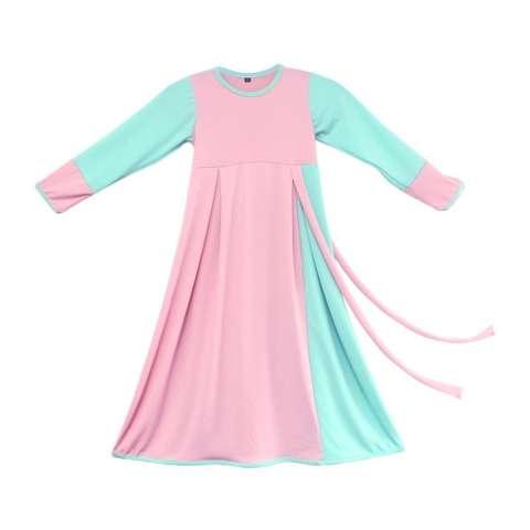 BAJUYULI - Baju Muslim Anak Perempuan Gamis Jersey Peach Mint 1