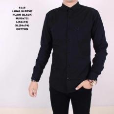 Bang janu olshop  Kemeja Pria Polos Lengan Panjang Baju Kemeja Fomal Cowok Exclusive Hitam