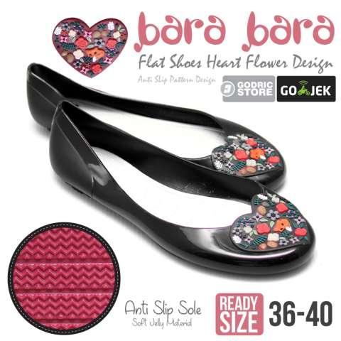 Bara Bara Sepatu Jelly Sendal Silikon Heart Shoes Cewek Silicone Flat Teplek 823 - Hitam