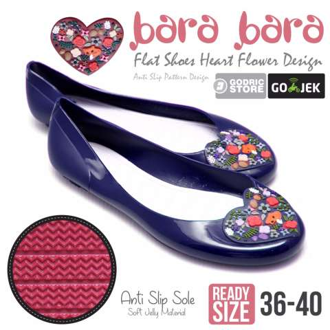 Bara Bara Sepatu Jelly Sendal Silikon Heart Shoes Cewek Silicone Flat Teplek 823 - Navy Blue