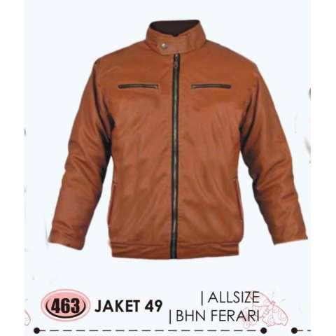 Baricco JKT 49 jaket kulit pria Sintetis - bagus&keren (Brown)