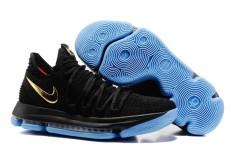 Sepatu Basket KD 10 EP Zoom Golden State Warriors NBA Sepatu Apa Yang Durant ELITE Pria RESMI Outdoors #35 Kevin Wayne Durant (Hitam) -Intl
