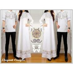 UC Batik Couple / Kemeja Gamis Muslim / Gaun Dress Hijab Muslim / Gamis Syar'i pasangan (wne egantel) SS - Putih D3C