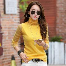 Benang Musim Semi Dan Musim Gugur Slim Sutra Cerah Kaos Baju Dalaman (Kuning)