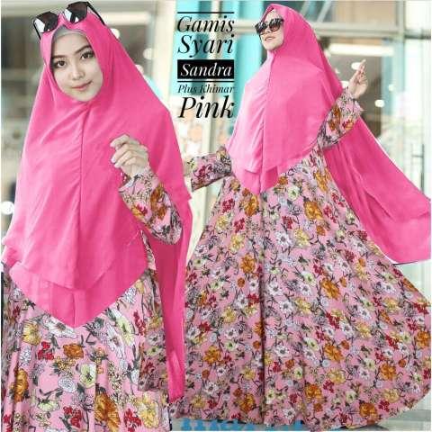BenOlshop Gamis Syari Sandra Warna Pink Plus Khimar