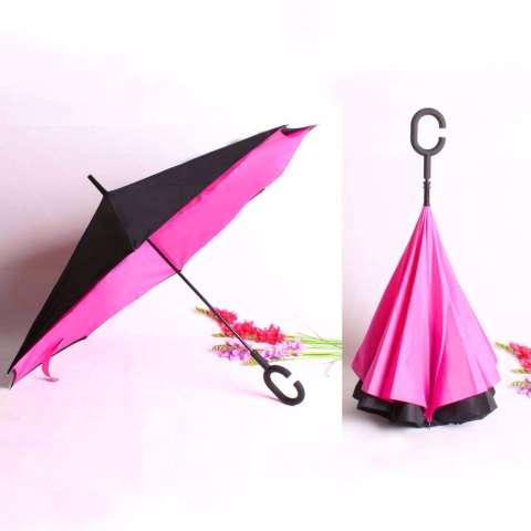 BEST Payung Terbalik KAZBRELLA 01 Gagang C Reverse Umbrella Payung Lipat / Mobil - PINK FANTA