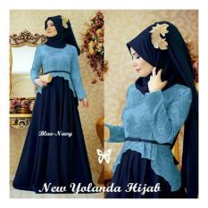 LF [Best Seller] Dress Gamis Remaja Muslimah  Amirah / Hijab Muslim / Muslim Syari Syar'i Hijab  / Busana Muslim Wanita / Kebaya Modern (landayo) SS - Biru Navy D2C