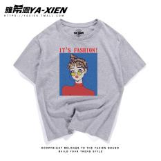 Bf T-shirt Gaya Jepang Abu-abu Atasan Korea Fashion Style Perempuan Lengan Pendek (Abu-abu kacamata gadis kcp)