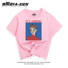 Bf T-shirt Gaya Jepang Abu-abu Atasan Korea Fashion Style Perempuan Lengan Pendek (Merah muda kacamata gadis kcp)