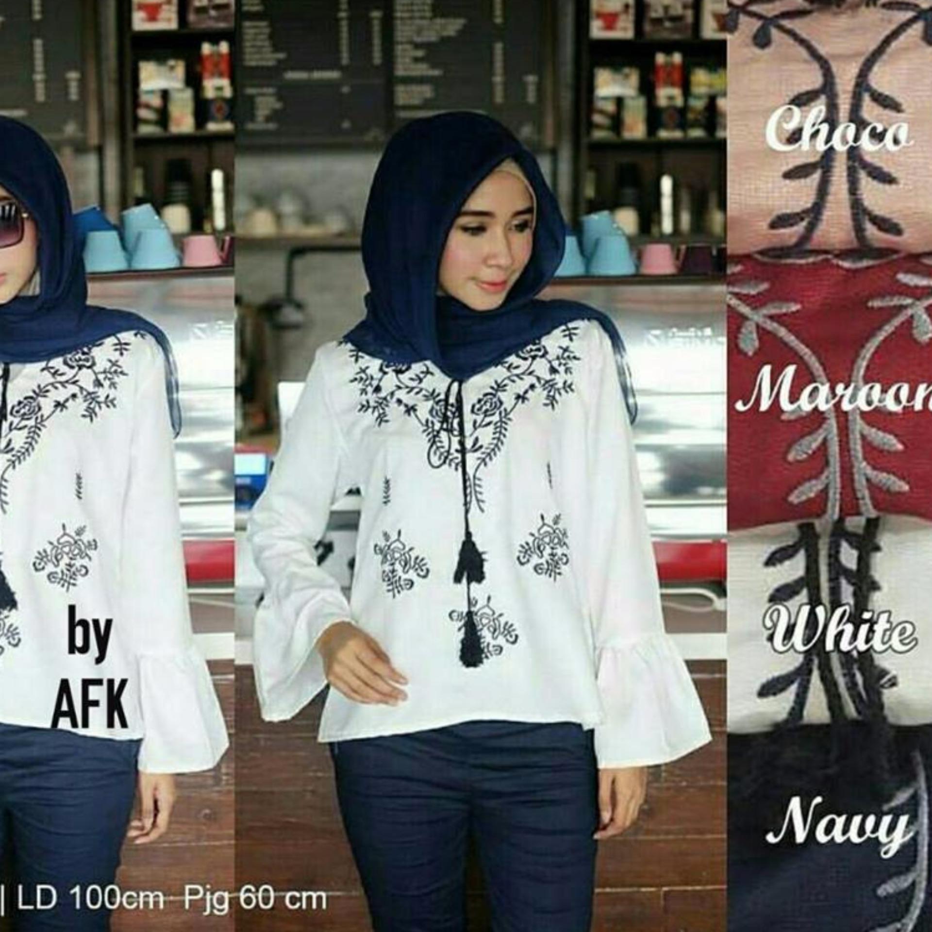 Shopping Yukz Blouse Wanita Valey Maroon7 Harga Terkini Dan Baju Atasan  A330 209 Muslimah Terbaru Grosir Murah Peach Sofie Bordir