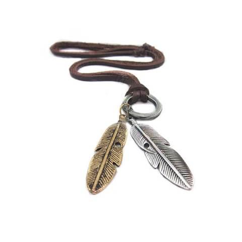 Bluelans® Bulu Kalung Tali Kulit (Gold/silver)