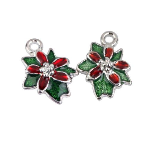 BolehDeals Paduan Natal Bunga DISEDUH SENDIRI Membuat Perhiasan Liontin Hiasan Temuan 10 Pcs 1