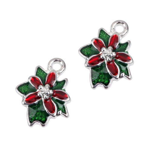 BolehDeals Paduan Natal Bunga DISEDUH SENDIRI Membuat Perhiasan Liontin Hiasan Temuan 10 Pcs 3
