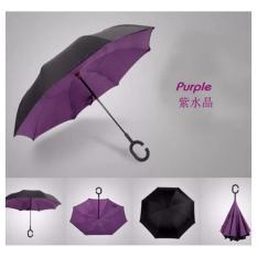 BonBon Payung Terbalik Best Quality dengan Tombol Merah Motif Polos - ungu