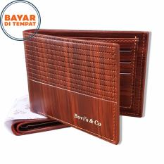 Bovis Dompet Pria Import Fashion Wallet 6 Inchi F027 PU Leather - Deep Brown