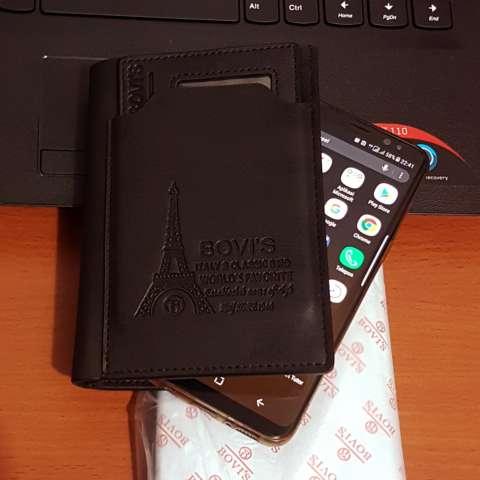 Bovis PU Leather Fashion Wallet Dompet Pria 6 Inchi 1382-4 Bifold Original Import - Black