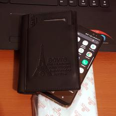 Bovis PU Leather Wallet Dompet Pria 6 Inchi 1382-4 Bifold Original Import - Black