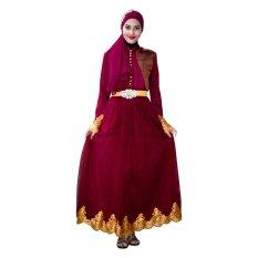 CantiQue Baju Gamis Pesta Muslim Nyaman bisa untuk Menyusui - Maroon