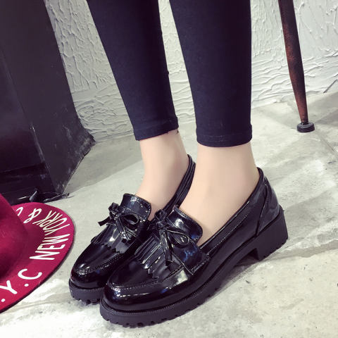 Loafers Korean-style autumn New style women's Shishang small leather shoes single shoes (Anggur