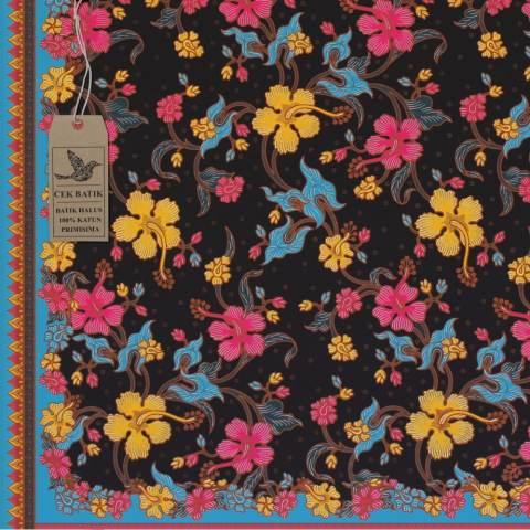 Cek Batik – Kain Batik Motif Bunga Manis Kombinasi Warna (HITAM MANIS, HIJAU TOSCA