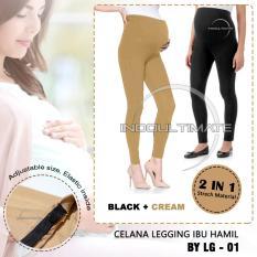 Celana Hamil 2 in 1 Hitam & Cream / Leging Hamil / celana hamil LG-01