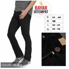 Celana Jeans Denim Cutbray Pria - Hitam Pekat