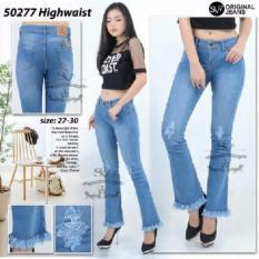 Celana Jeans Semi Cutbray SObek Motif Rawis Modis SOft Jeans Original Bio Blitz