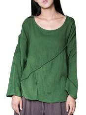 Celmia 5XL 2018 Spring Womens Oversized Cotton Linen Blouse O Neck Long Sleeve Blusas Split Baggy Casual Loose Tops Retro Shirts Green