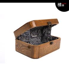 Chic Retro Rajut Bahan Kayu Kotak Persegi Panjang Tas Sederhana Tas Bahu (Brown Penampang Besar)