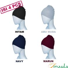 Maula Hijab Ciput Rajut Anti Pusing - Isi 4 (hitam, abu muda, navy, marun)