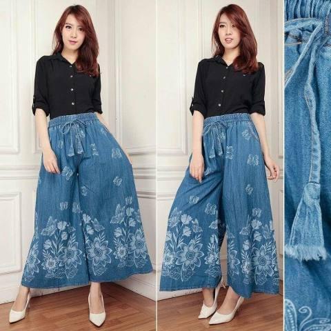 Celana Rok Kulot Wanita Jumbo Triple Purple Daftar Harga Source · Cj collection Celana kulot jeans panjang wanita jumbo long pant Milena