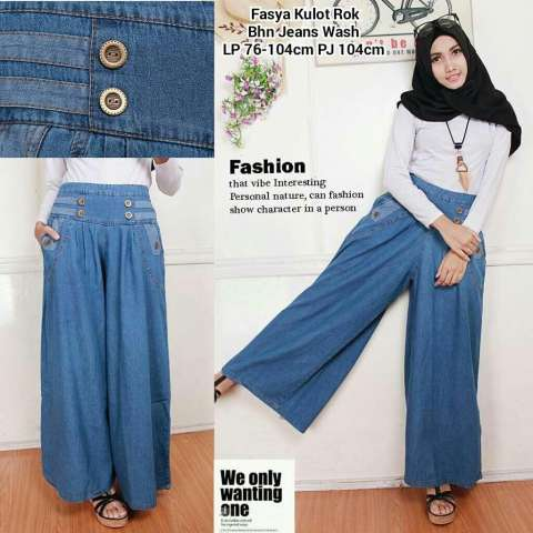 Cj collection Rok celana kulot panjang jeans wanita jumbo long pant Oussama