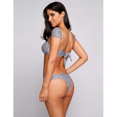 Harga Clearance ASTAR Kotak-kotak Dicetak Tutup Lengan Potong Bikini Set Baju Renang (Hitam)-Internasional 4