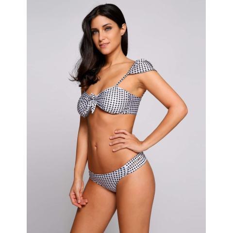 Harga Clearance ASTAR Kotak-kotak Dicetak Tutup Lengan Potong Bikini Set Baju Renang (Hitam)-Internasional 2