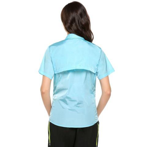 Harga Clearance Sunweb Wanita Kasual SHORT Lengan Polos Ramping Luar Ruangan Lapisan Jaring Anti-Air Tabir Surya Tombol-Down Kaus (Biru) -Internasional 2