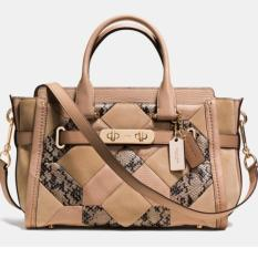 Coach Swagger 27 Beechwood Patchwork Exotic Embossed Medium Leather Authentic 37188