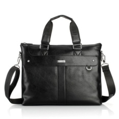 Cowhide Leather Handbag Laptop Bag Shoulder Backpac Men Tote Bags (Black) MSA4GB (Color:As First Picture)
