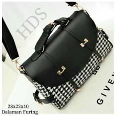 Cross Body & Shoulders Bags / Sling Bag / Tas Selempang Korean Style Houndstooth Black Opener - Black