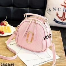 Cross Body & Shoulders Bags / Sling Bag / Tas Selempang Korean Style Ovale Embossed Gold Acce - Pink
